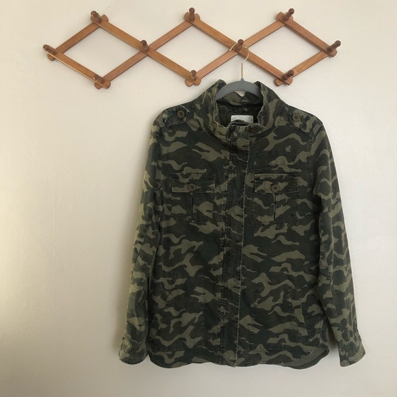 Altar'd State Camo Snap Button Zip Up Jacket